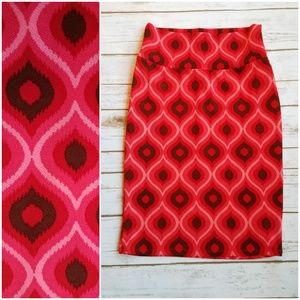 LuLaRoe Pink Pattern Cassie Pencil Skirt